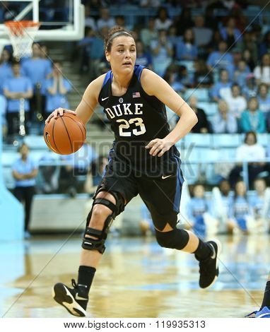 CHAPEL HILL, NC-FEB 28: Duke Blue Devils guard Rebecca Greenwell (23) dribbles the ball against the UNC Tar Heels on February 28, 2016 at Carmichael Arena in Chapel Hill, North Carolina.