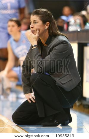 CHAPEL HILL, NC-FEB 28: Duke Blue Devils head coach Joanne P. McCallie reacts on the sidelines against the University of North Carolina Tar Heels on February 28, 2016 at Carmichael Arena.