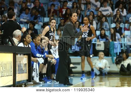 CHAPEL HILL, NC-FEB 28: Duke Blue Devils head coach Joanne P. McCallie reacts on the sidelines against the UNC Tar Heels on February 28, 2016 at Carmichael Arena in Chapel Hill, North Carolina.