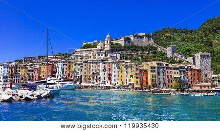 colorful pictorial Portovenere - Liguria, Cinque Terre, Italy