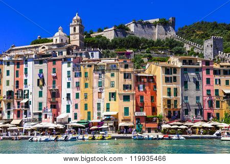 colorful houses of Portovenere- town Liguria, Cinque Terre, Ital