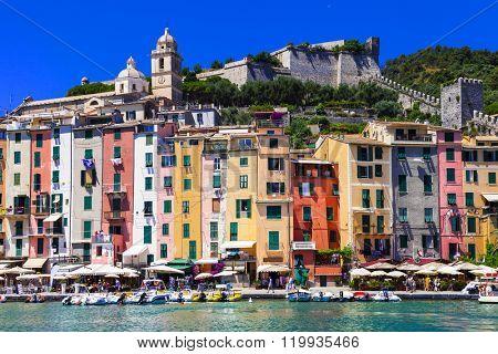 colorful houses of Portovenere- town Liguria, Cinque Terre, Ital