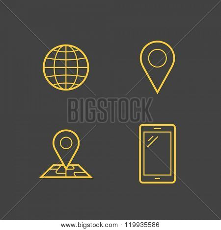Mobile network operator or wireless service provider linear icons. Vector icons