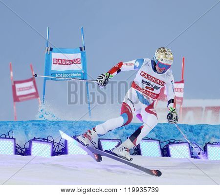 STOCKHOLM SWEDEN - FEB 23 2016: Skier Michelle Gisin (SUI) jumping at the FIS Alpine Ski World Cup - city event February 23 2016 Stockholm Sweden