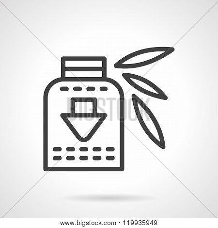 Vitamins syrup black line design vector icon