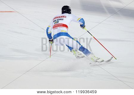 Andre Myhrer Skiing At A Slalom Event