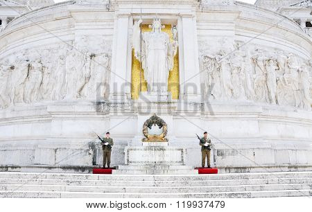 Soldiers Guarding The Altar Of The Fatherland In Rome