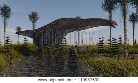 titanosaurrus in swapm waters