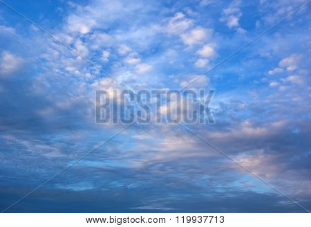 Perfect  Light White Clouds In The Blue Sky