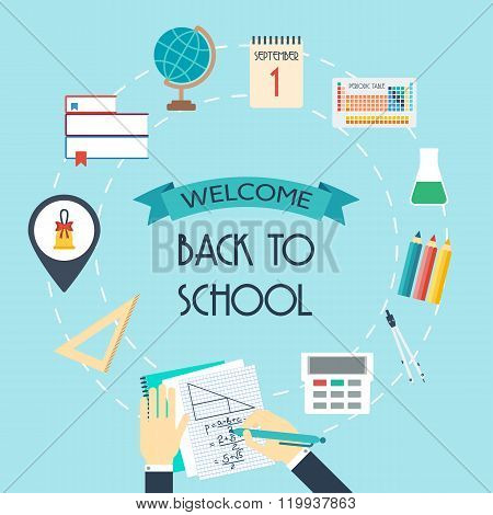 Banner, Background, Concept From The School And Education Icons. Back To Scholl. Flat Design. Vector