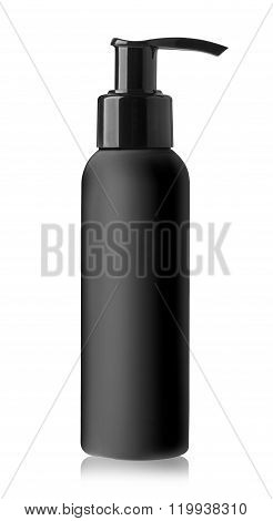 Realistic black bottle of liquid soap. Cosmetic bottle for a cream shampoo oil gel soap balsam.