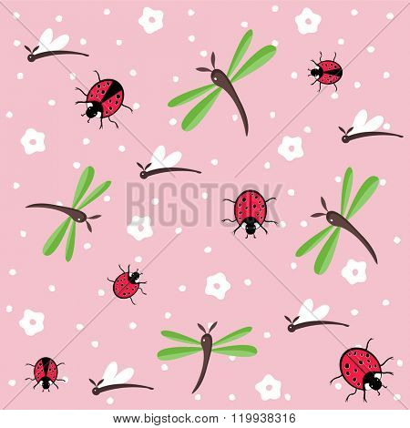 Hand drawn dragonflies and ladybugs seamless floral pattern