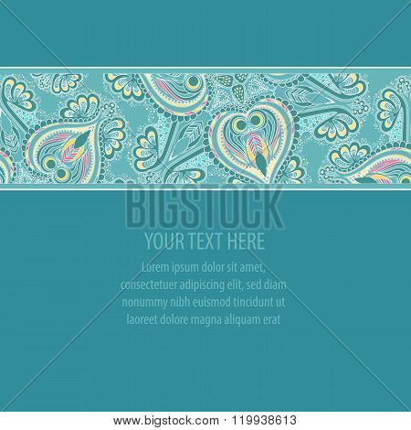Abstract hand-drawn floral seamless border