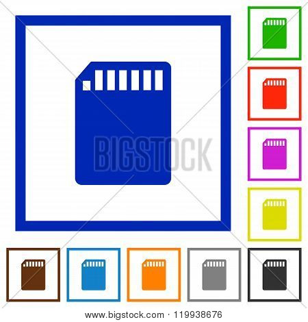 Sd Memory Card Framed Flat Icons