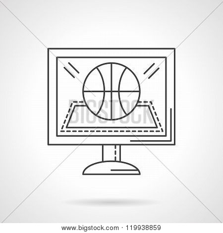 Online game flat line design vector icon