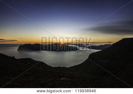 Sunset from mountain Sornfell, Vagar island in background, Faroe Islands, Denmark