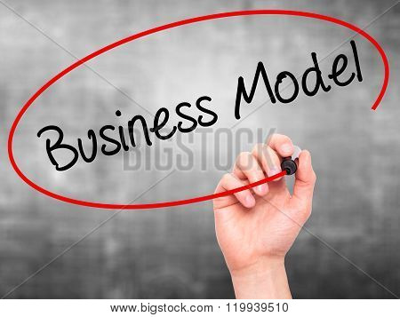 Man Hand Writing Business Model With Black Marker On Visual Screen.