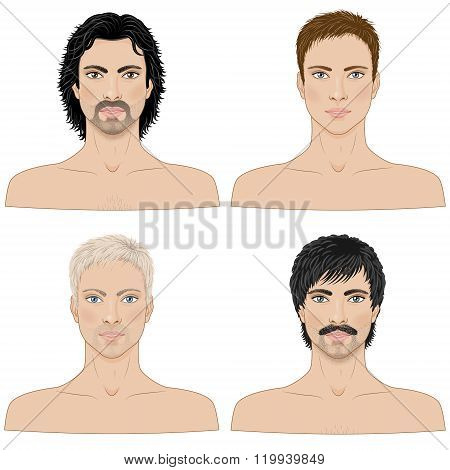 Men  With Different Hairstyles.