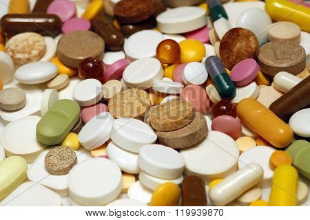 Assorted Colorful Pills And Capsules