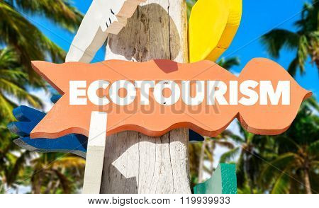 Ecotourism sign with palm trees