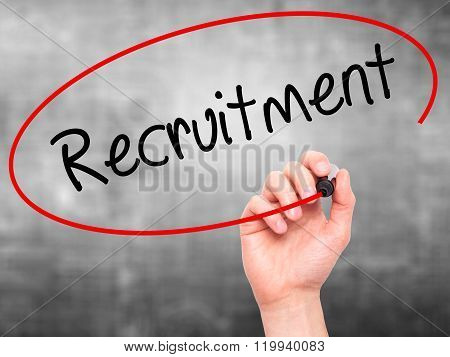 Man Hand Writing Recruitment  With Black Marker On Visual Screen.