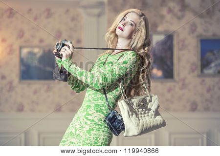 Model Beautiful Woman In Fashionable Clothes Amid Luxury Vintage  Interior