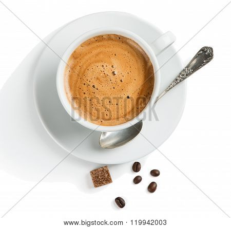 Overhead View Of Coffee With Foam