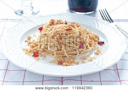 Pasta With Anchovies And Breadcrumbs, Typical Of Sicily