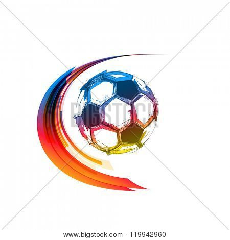Football or soccer color balls with motion trails