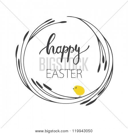 Abstract easter card with a pussy-willow branch wreath and cute yellow chick on white background, vector illustration. Happy easter card.