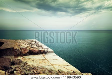 View Over Stormy Sea And Clouds