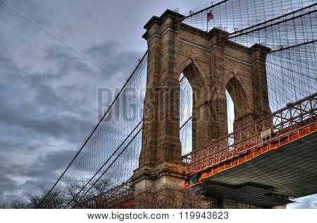 Artistic HDR image of the Brooklyn Bridge on a cloudy day