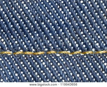 Indigo denim new jeans extreme macro photo.
