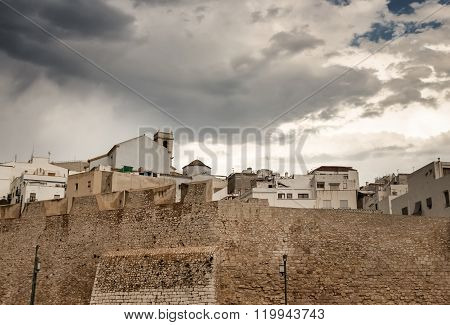 Dramatic Sky Over The Houses Of Peniscola, Spain