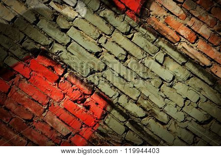 Dramatic Grunge Painted Old Wall With Diagonal Bricks, Creative Background For Your Design