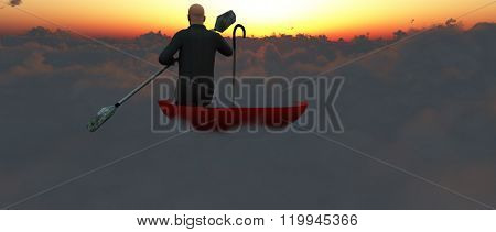 Man paddling through clouds in an upturned umbrella into sunset