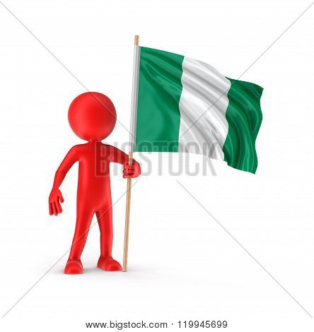 Man and Nigerian flag. Image with clipping path