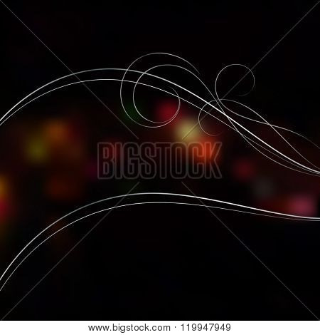 Abstract night blurry lights vector background with white wavy lines.