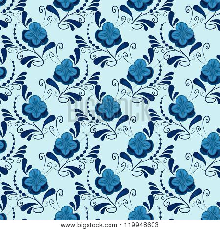 Seamless blue flowers gzhel vector pattern.