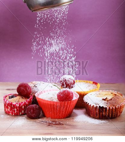 Cakes Sprinkled With Powdered Sugar