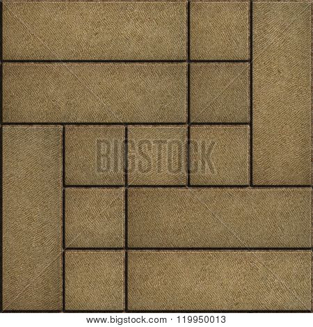 Texture of Rectangular Sand Color Paving Slabs.