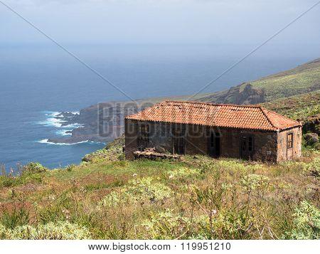 abandoned house on the coast of La Palma Canary Islands
