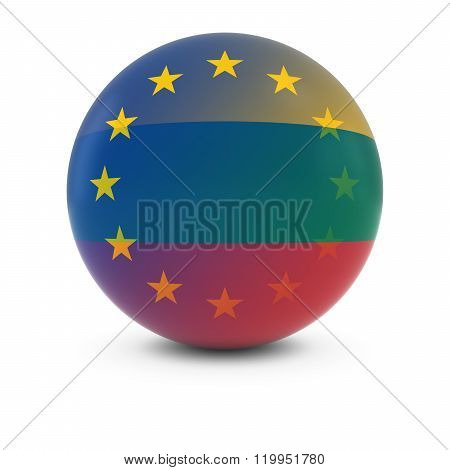 Lithuanian And European Flag Ball - Fading Flags Of Lithuania And The Eu