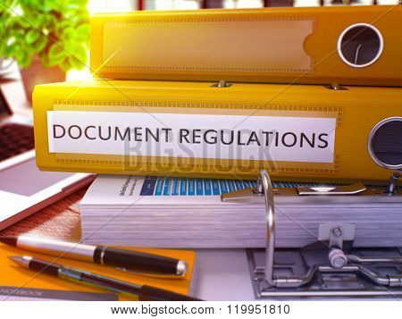 Yellow Ring Binder with Inscription Document Regulations.