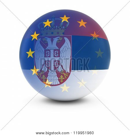 Serbian And European Flag Ball - Fading Flags Of Serbia And The Eu