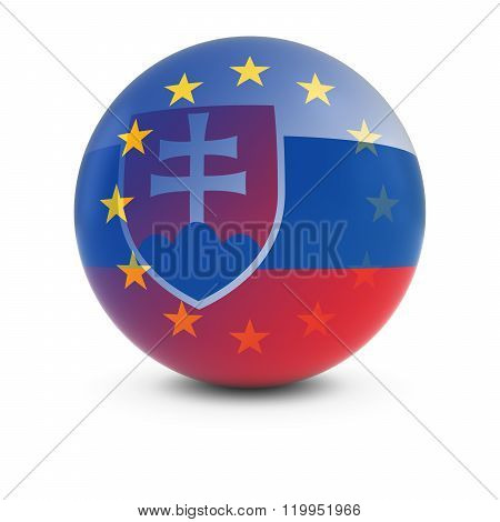 Slovakian And European Flag Ball - Fading Flags Of Slovakia And The Eu