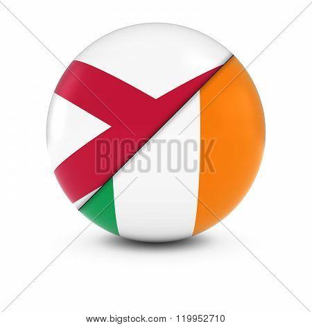 Irish and Northern Irish Flag Ball - Split Flags of Ireland and Northern Ireland