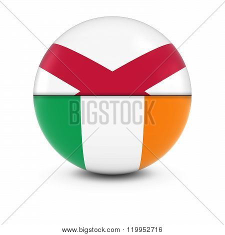 Irish and Northern Irish Flag Ball - Split Flags of Ireland and Northern Ireland - 3D Illustration