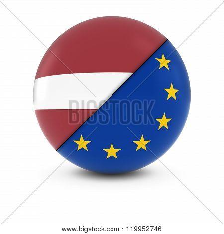 Latvian and European Flag Ball - Split Flags of Latvia and the EU - 3D Illustration