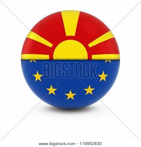 Macedonian and European Flag Ball - Split Flags of Macedonia and the EU - 3D Illustration